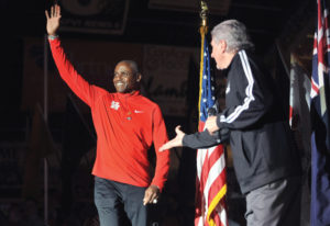 Carl Lewis at the 2016 Simplot Games.